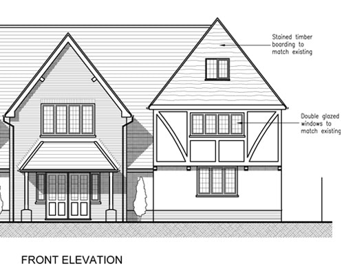 Architectural design - front elevation of proposed extension