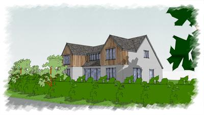 Architect's drawings for a feasibility study for a new dwelling